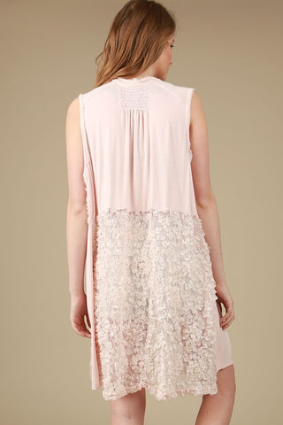Lace Paneled Sleeveless Kimono Open Cardigan in Blush