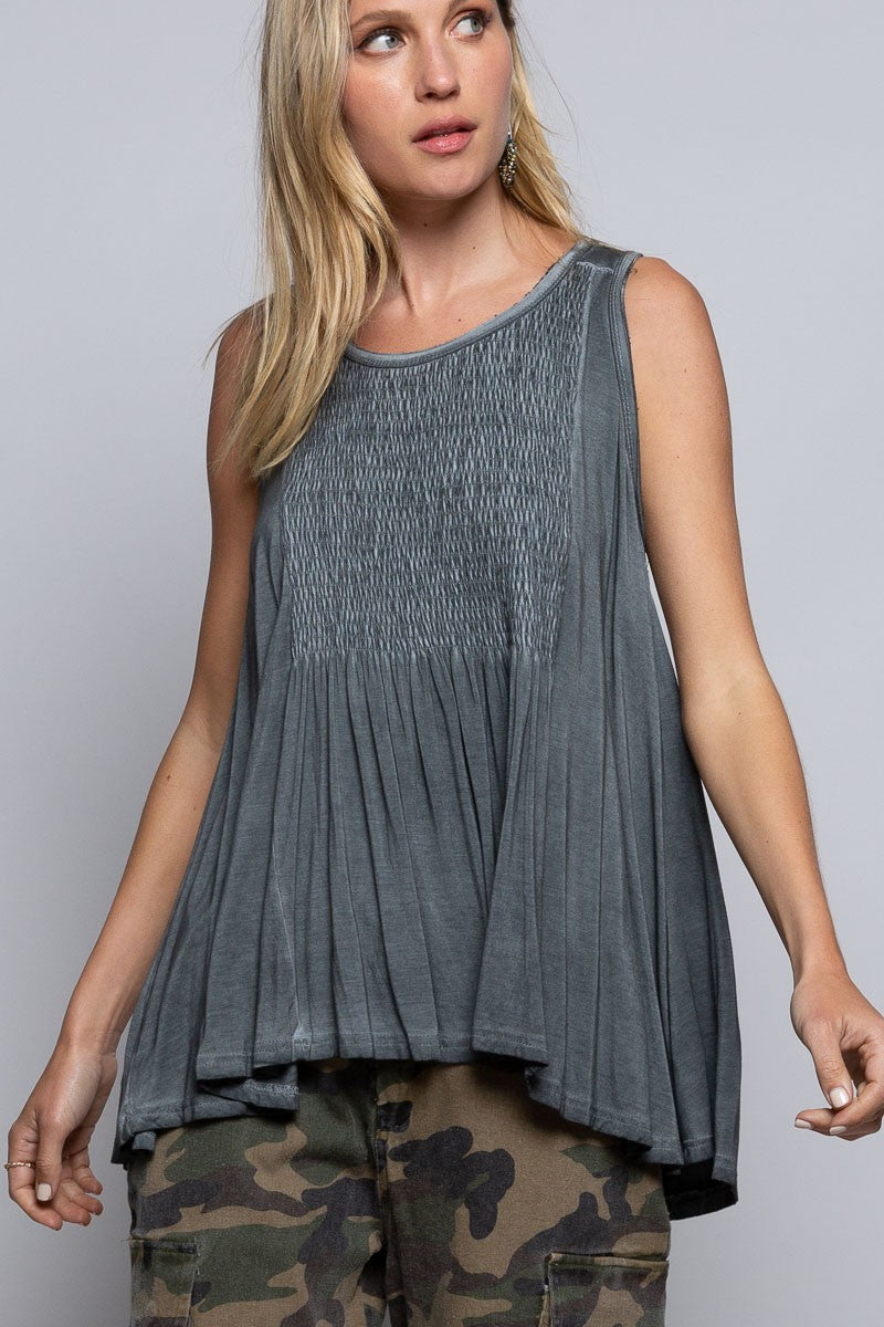 Sleeveless Top smock babydoll lace-up back in Charcoal