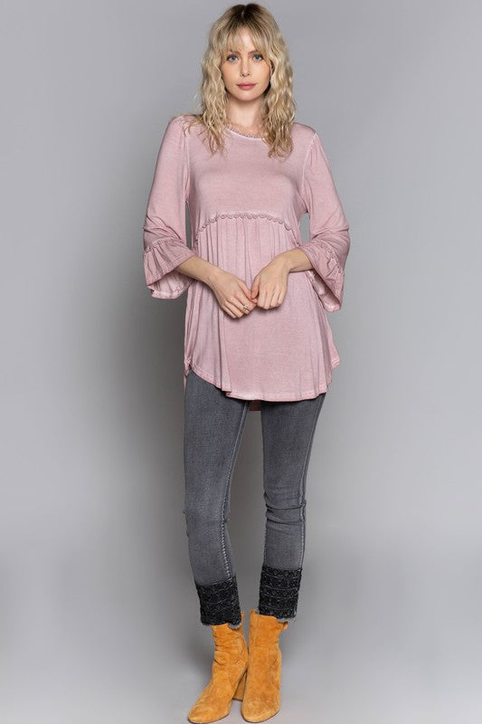 Babydoll Top with 3/4 Sleeves in Dusty pink