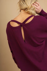 Fall Light Sweater with Criss Cross Back - Wine