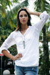 Solid Light Cotton Tunic - White
