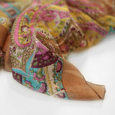 Bohemian Chic Silk Head Scarf Light Brown