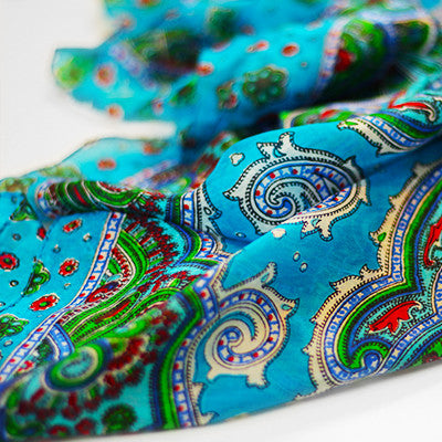 Bohemian Chic Silk Head Scarf Turquoise