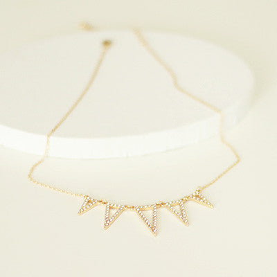Pave Triangle Spikes Dainty Necklace