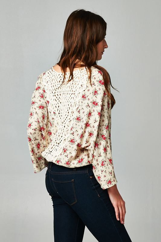 Bohemian Romantic Floral Top Long sleeves with Crochet Lace Back