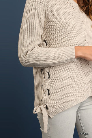 Fall Sweater Long Sleeve with Side Drawstrings - Ivory