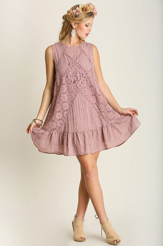 Sweet Spring Lace Dress in Sage