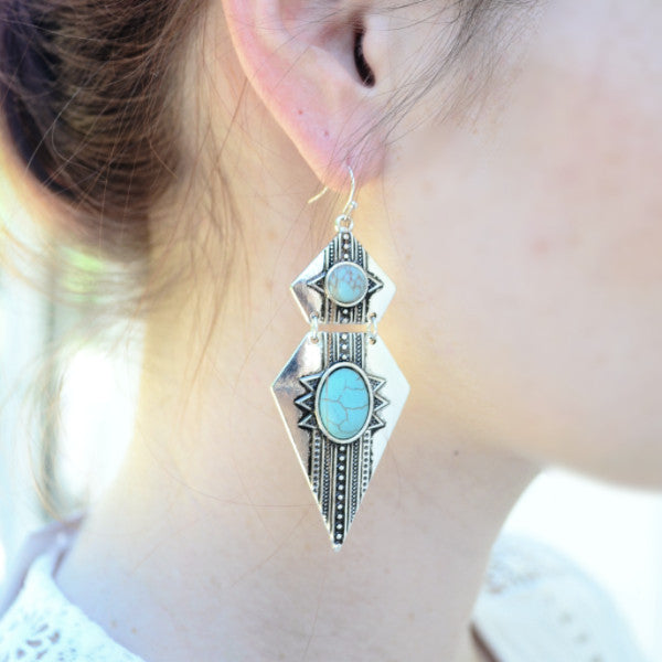 Tribal Inspired Earrings - Silver Tone and Turquoise