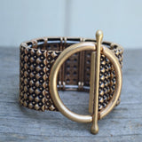 Super Women Wide Elastic Bracelet - Antiqued Gold