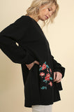 Floral Embroidered Sweater with Wrist Ties in Black