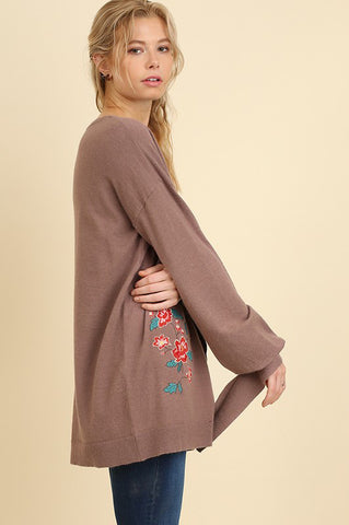 Floral Embroidered Sweater with Wrist Ties in Coffee