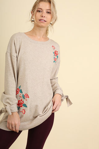 Floral Embroidered Sweater with Wrist Ties in Tan