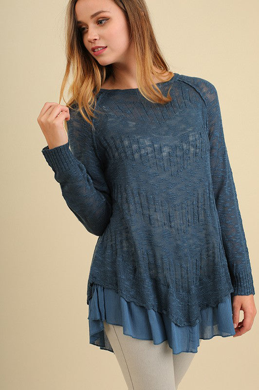 Tiered Light Sweater in Teal