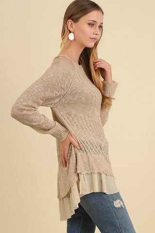 Tiered Light Sweater in Oatmeal