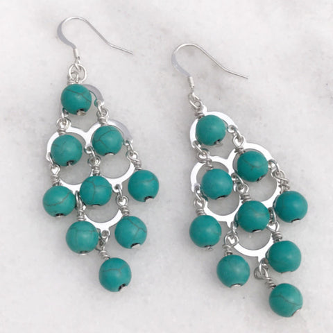 Bohemian Gypsy Fountain Earrings - Silver Tone and Turquoise