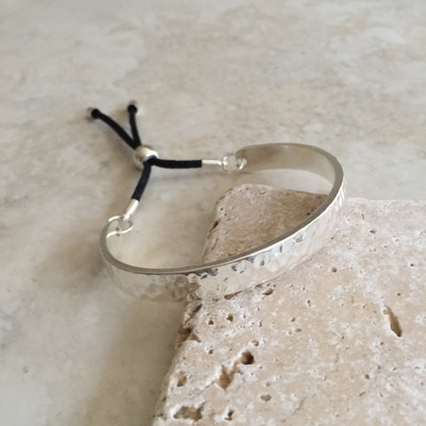 Bar and Rope Cuff Bracelet - Hammered Silver Tone Finish
