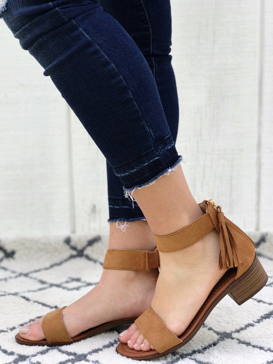 Florence - Strappy Block Heel Sandals in Tan Color