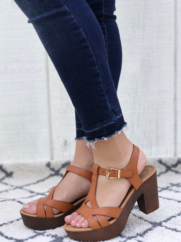 Ankle Strap Platform Sandals in Tan Color