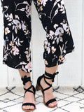 Danube - Strappy Ballerina Block Heel Sandals in Black