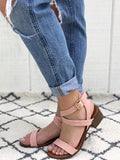 Jordan - Strappy Block Heel Sandals in Blush Pink