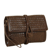 JENN by VIETA Woven Clutch in Brown
