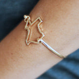 State Shape Wire Hinge Bangle Bracelet Gold Silver - Kentucky