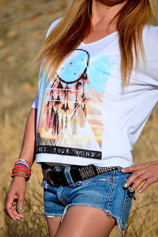 Boho Chic Dreamcatcher Dolman White Top