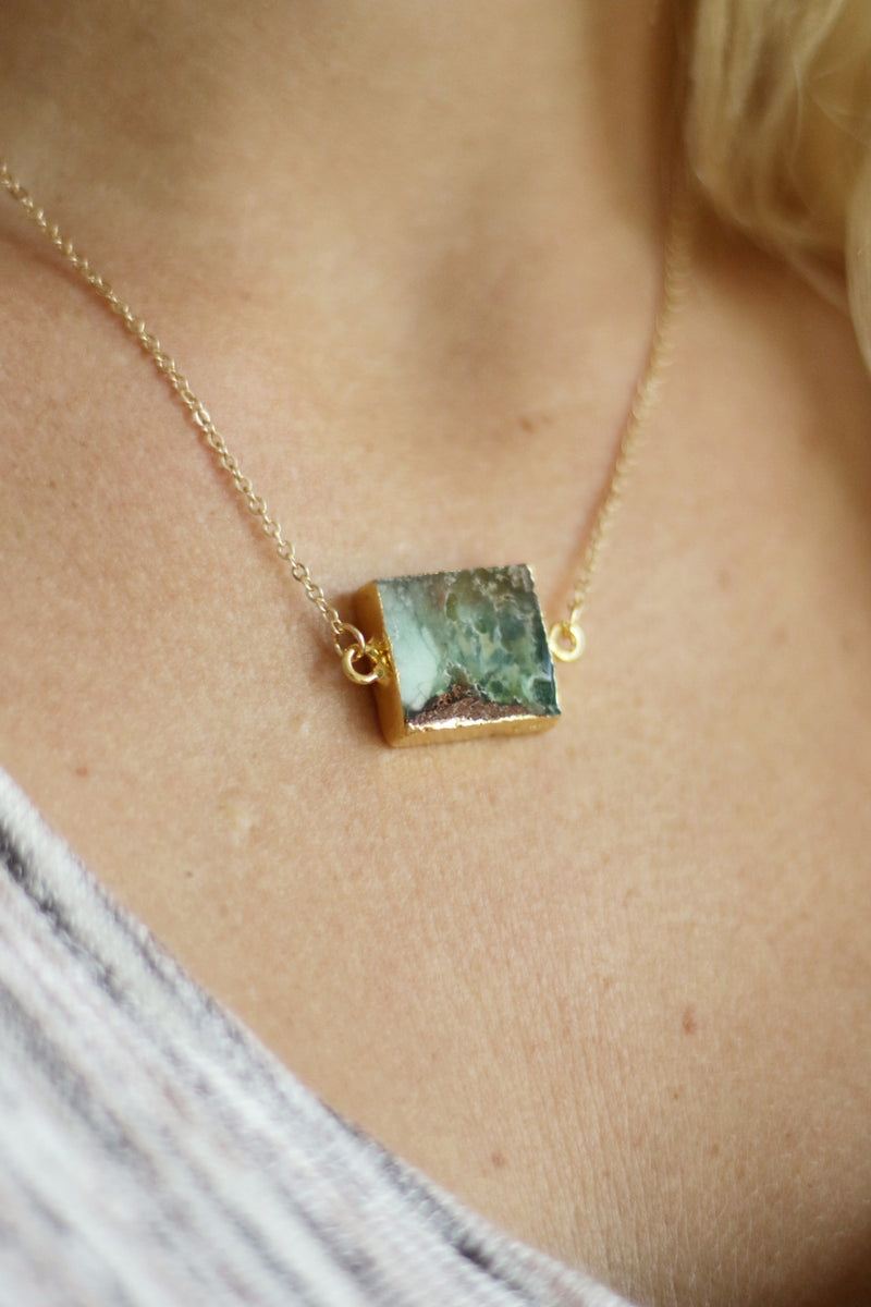 Square Necklace - Semi Precious Stone