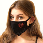 Face Mask Heart Crystals Red LOVE Cotton Black