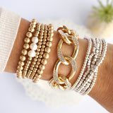 Golden Ball Beads And Pearls Bracelets Set