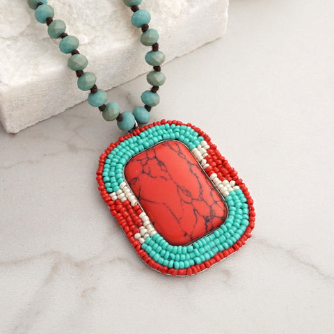 Native American inspired knotted beads necklace