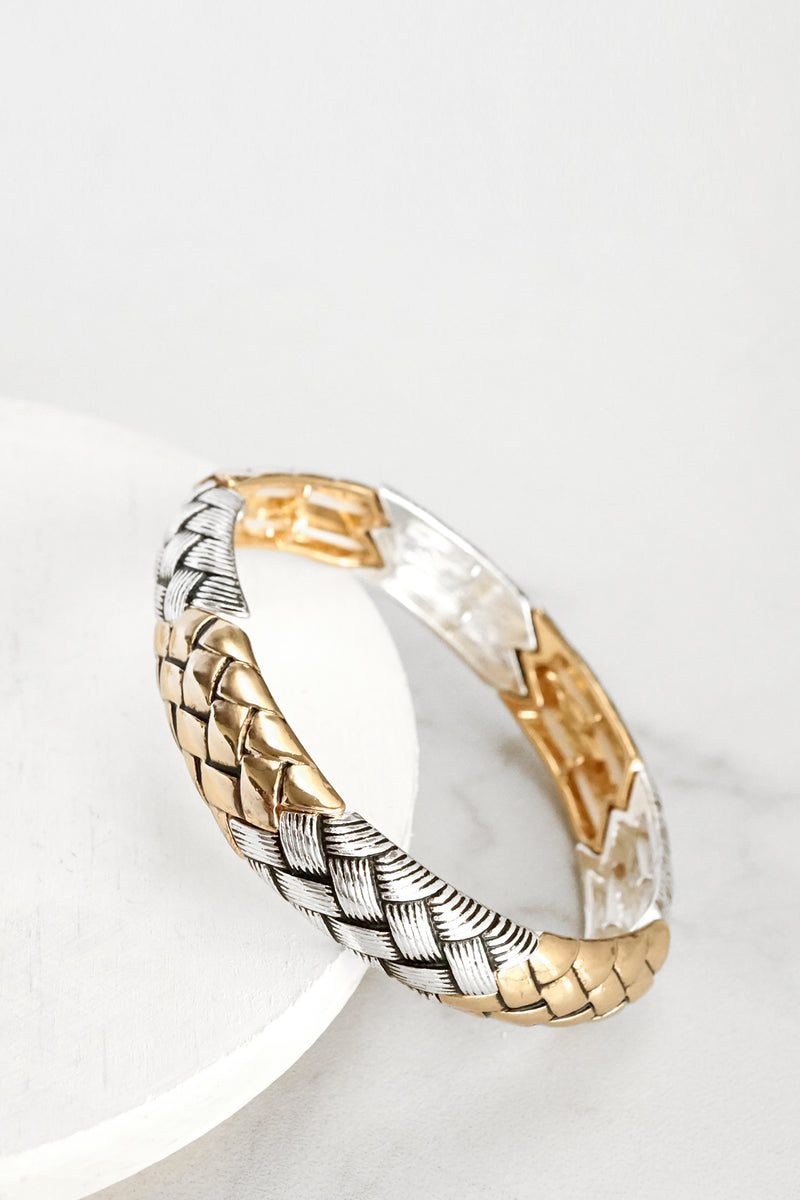 Timeless Silver Gold Tone Woven Bohemian Bangle