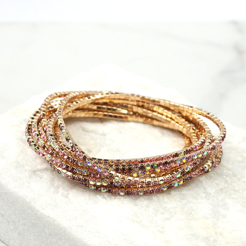 Stretchy Bracelets Set with Crystals in Pinks and Purple