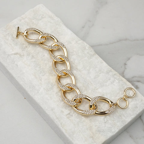 Chunky Chain Bracelet with Clear Crystals