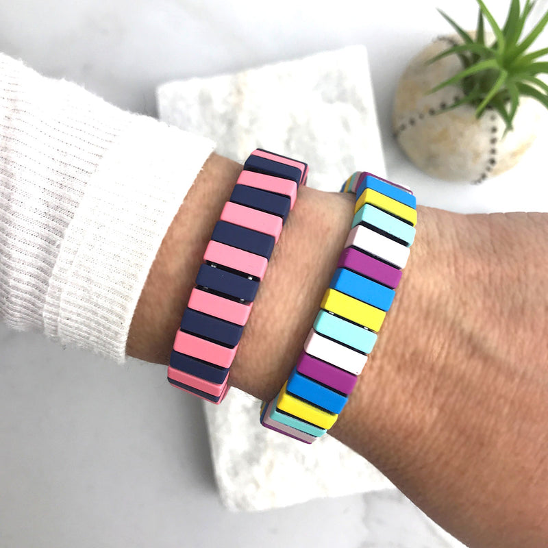 colorful metal block bracelet