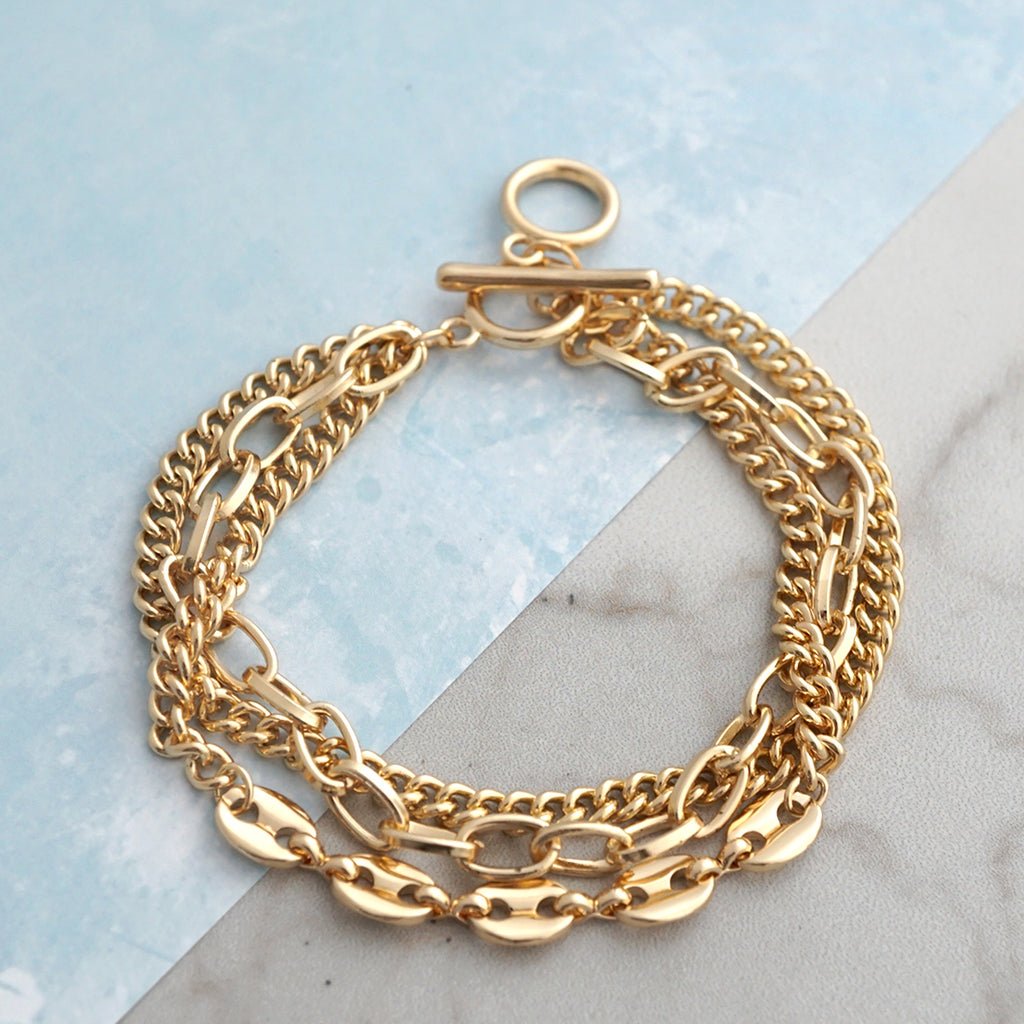 Multi Layer Chain Bracelet in Gold Tone