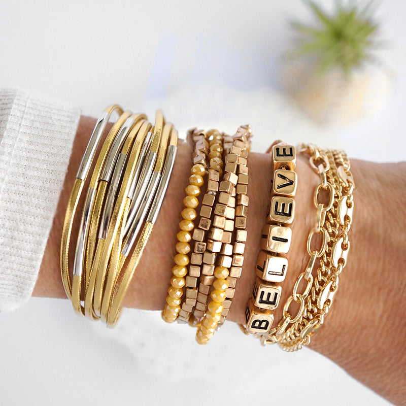 Yellow Glass Beads and Metal Beads Bracelets Set
