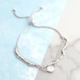 Dainty Pull Tie Silver Tone Bracelet with Beads and Coin