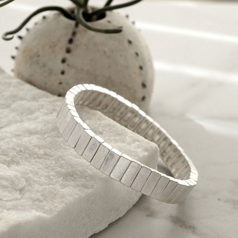 Silver Blocks Stretchy Bracelet