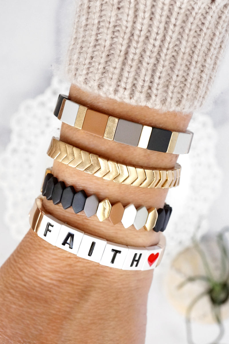 Black Brown layering bracelet