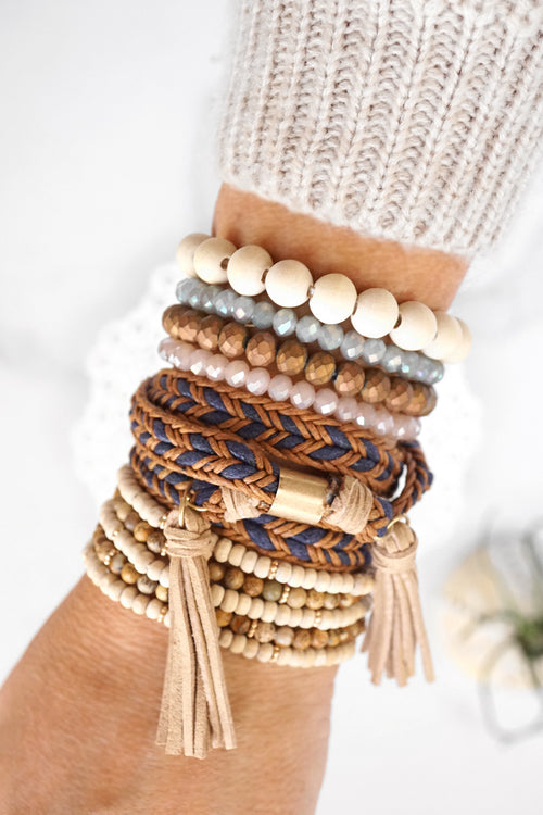 Wrap and Beads Bracelet Set with Tassels