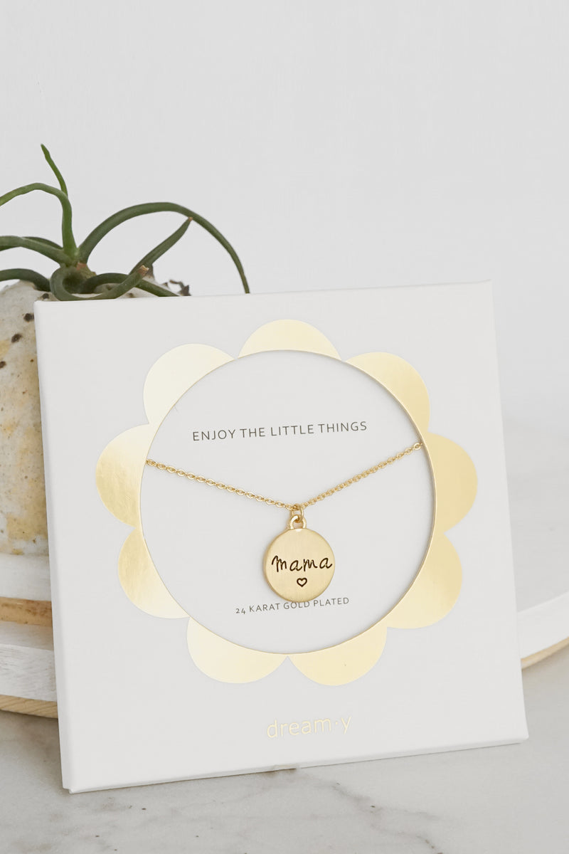 Mama - 24K Gold Plated Coin Dainty Necklace