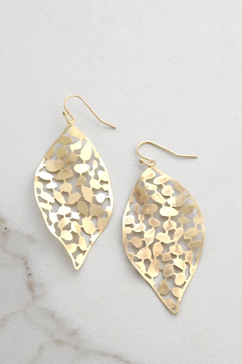 Lightweight Filigree Golden Leaf Earrings