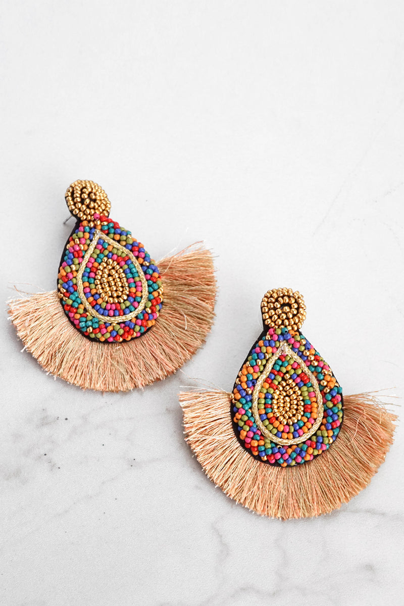 Seed Beads Statement Earrings in Beige