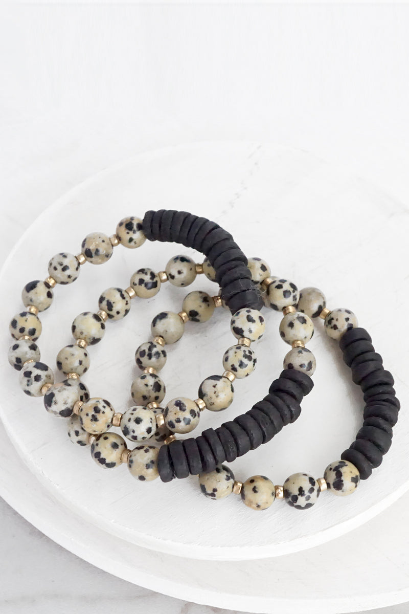 Semi Precious and Wood Bracelet Set