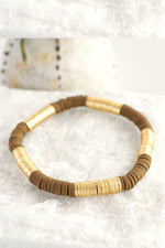 Gold Brown Beads Stretchy Bracelet
