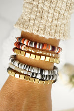 Cozy Heishi Bracelet Set in Mixed Grays and Gold