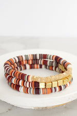 Fall Heishi Bracelet Set in Burgundy and Gold