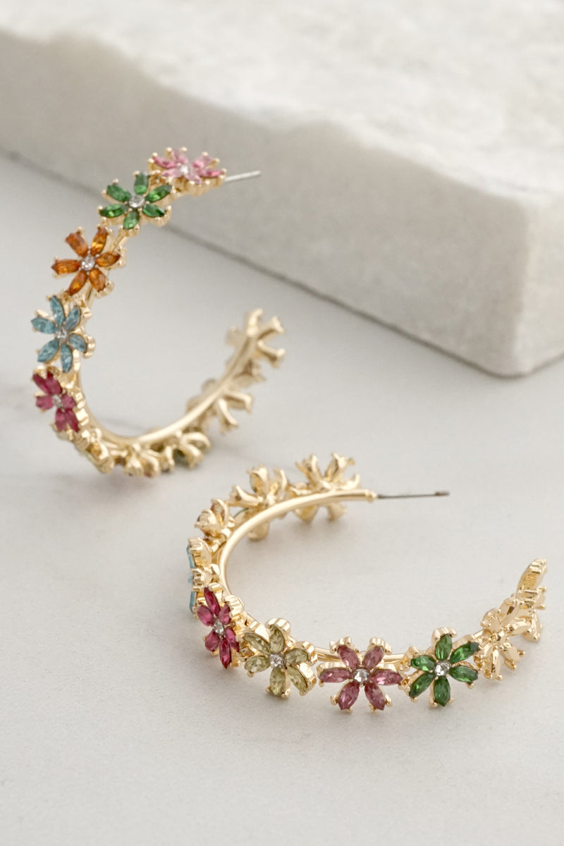 Sparkly Colorful Floral Hoops Earrings