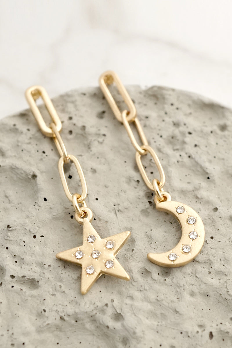 Moon and Star Drop Chain Earrings